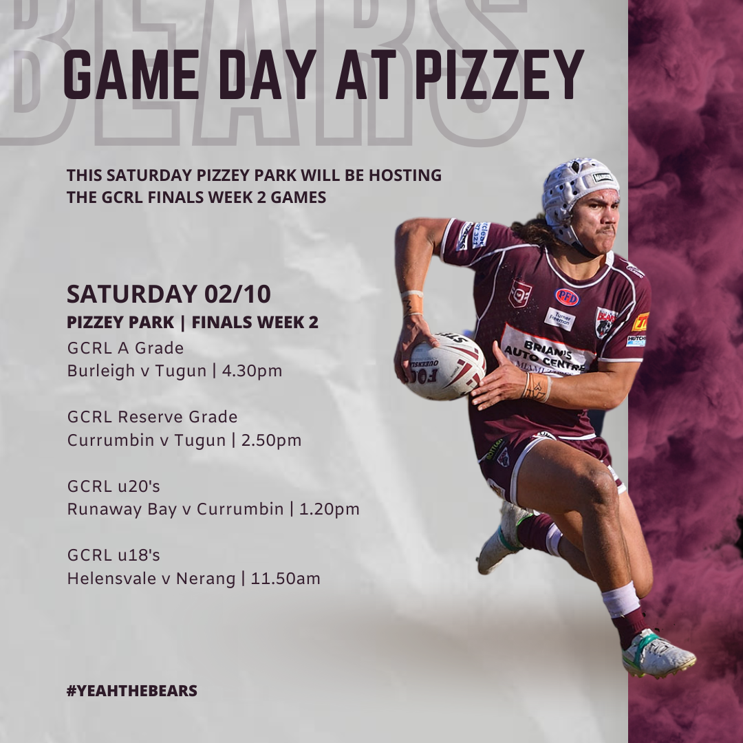 Game Day at Pizzey   Saturday 2nd October